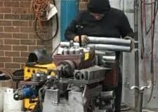 custom exhaust system being worked on in the workshop